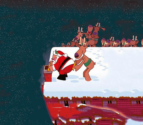 Papai Noel gordinho não cabe na chaminé